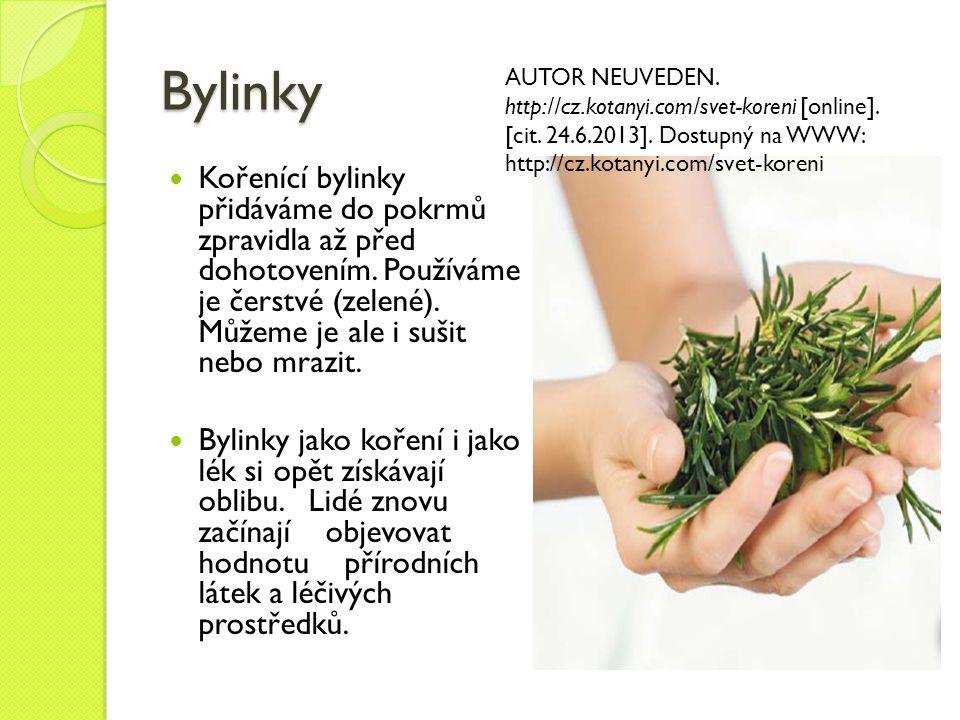 Bylinky AUTOR NEUVEDEN. http://cz.kotanyi.com/svet-koreni [online]. [cit. 24.6.2013]. Dostupný na WWW: http://cz.kotanyi.com/svet-koreni.